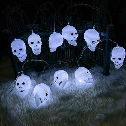 MatureGirl Horror Ghost String Lights, Halloween Horror Ghost Headlights, LED Halloween Creative DIY Skeleton Head Atmosphere Lamp Home Garden Party Decor Halloween Indoor Outdoor (2m)