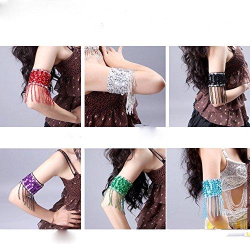 [Lecent@ Belly Dance Handmade Beaded Fringe Arm Chain Bracelet Arm 2pcs/Set] (Belly Dance Costumes Custom)
