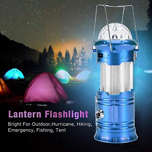 Sala-Fnt - Solar Powered Portable Collapsible LED Flashlight Stage Light Flame Effect Lamp Outdoor Camping EmHiking Tent Lantern EU Plug