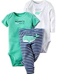 Carters Baby Boys 3-pc. Great Catch Bodysuit Set 3 Month Blue/green/white
