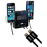 RNDs Wall Power Station Includes 3 AC Plugs and 2 USB Ports with Surge Protection and 2 Slide-Out Holders for Your Smartphone (Black) (2-Pack 3.2FT Apple Certified Lightning Cables Included)