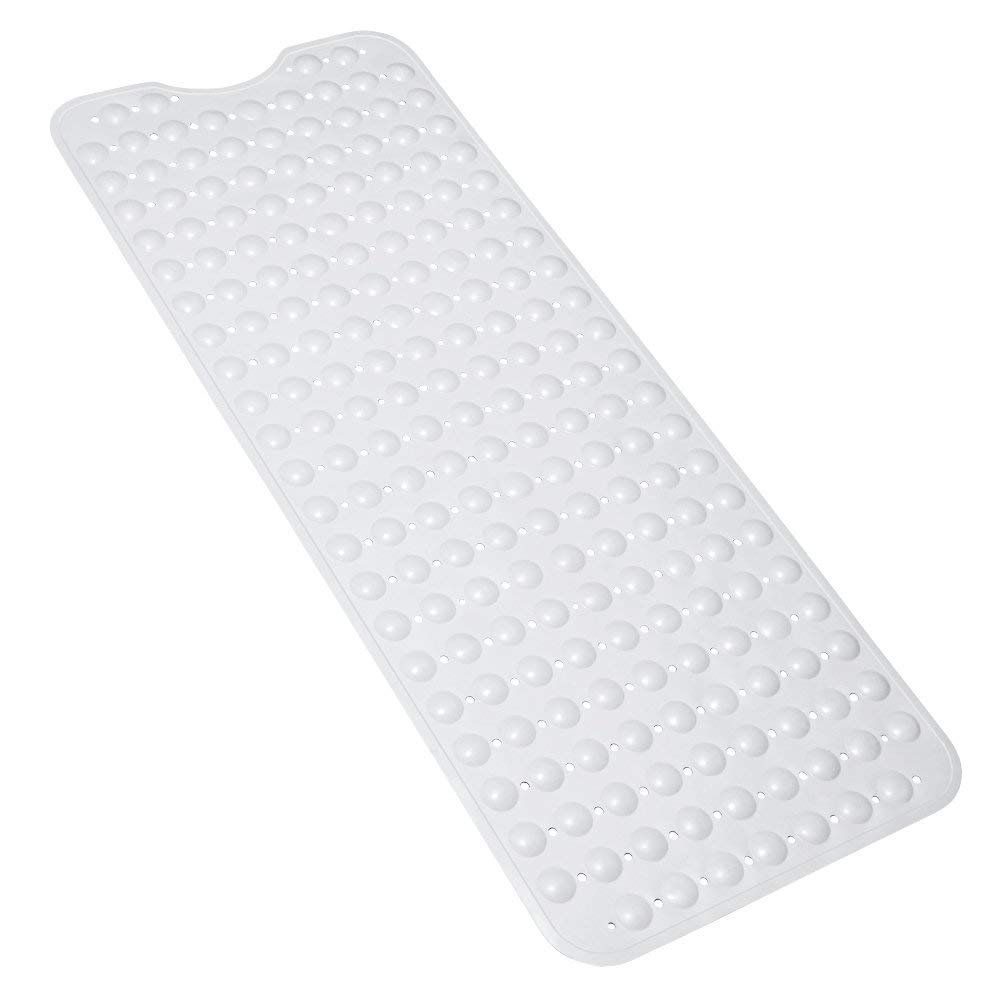 Diossad Bathtub Mat White Extra Long Non Toxic Vinyl Non Slip Safety Suction Cup Bathroom Shower Mat