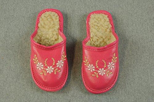 Hausschuhe mit Lammfell gefüttert Schuhe Wolle Winterschuhe Natur Rosa Pink Mädchen Girl Kleidung HMR (23)