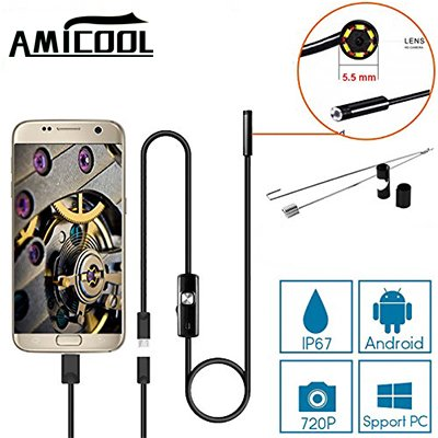 USB Endoscope, Amicool 2 in 1 Borescope Inspection Camera 2.0 Megapixels CMOS HD Waterproof Snake Camera with USB Adpater and 6 Adjustable LED Light for Android/Windows – 3.5 Meters (11.5 ft.) (Camera Snake Inspection)