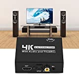 fosa HDMI Audio Extractor, 4K x 2K HDMI to Optical Toslink SPDIF Digital Audio Splitter + Analog L/R with Left and Right Channel Support 1080p/1080i/720p/576p/576i/480p/480i(Black)