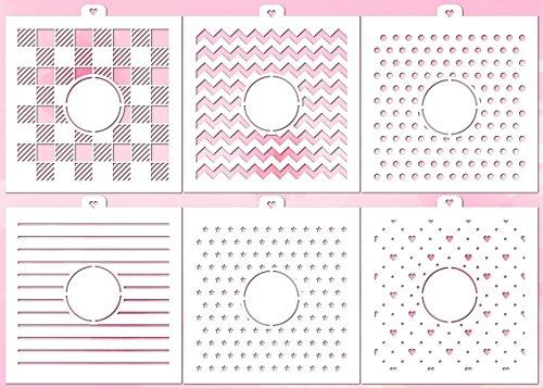(Cookie Stencil Set Monogram Backgrounds 1 Basic, 6 pcs. )