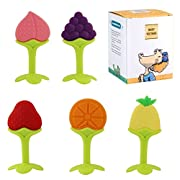 Biubee 5 Pack Baby Fruit Teether Toy - Silicone Chew Teething toys, Non-toxic, Latex and Phthalate Free