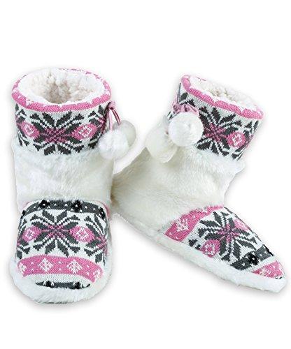 Iconoflash Womens Faux Fur Fair Isle Sweater Knit Bootie Slipper Pink Snowflake