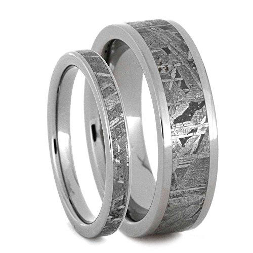 Gibeon Meteorite Comfort-Fit Titanium Band, His and Hers Wedding Set, M10-F6.5 by The Men's Jewelry Store (Unisex Jewelry)