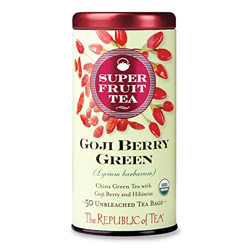 50 Tea Bag Tin - The Republic Of Tea Organic Goji Berry Green Superfruit Tea, 50 Tea Bag Tin