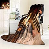 Microfiber Fleece Comfy All Season Super Soft Cozy Blanket hands of woman reading book by fireplace for Bed Couch and Gift Blankets(60''x 50'')