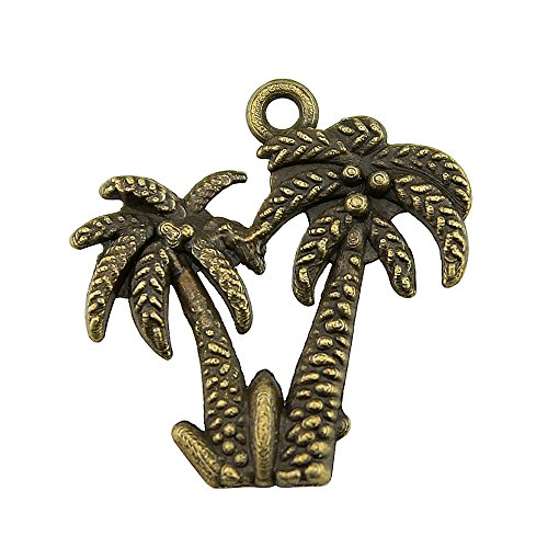 (NEWME 70pcs Palm trees Charms Pendant For DIY Jewelry Wholesale Crafting Bracelet and Necklace Making (antique)