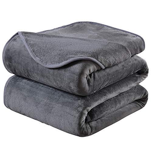 HOZY Soft Blanket King Size Fleece Warm Fuzzy Throw Blankets for The Bed Sofa Lightweight 350GSM Dark Grey 90'' 108'' by HOZY