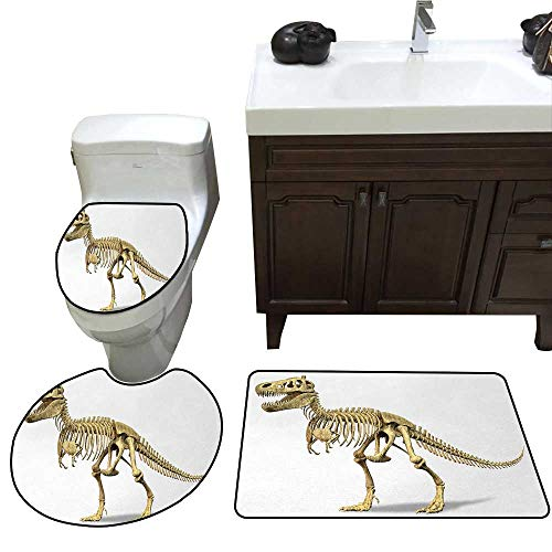 John Taylor Dinosaur 3 Pc Bath Rug Set Primeval Wildlife Concept Fossil Animal Skeleton Paleontology Predator Creature Rug Contour, Mat and Toilet Lid Cover Ivory White