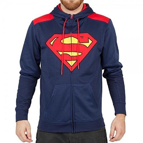 Superman Poly Adult Men's Navy Hoodie Zip Up Sweatshirt (Superman Adult Mens Hoodie)