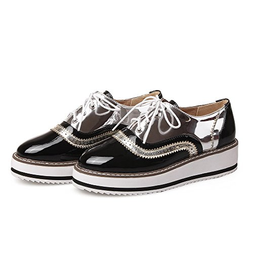 Closed Round Lace Kitten Silver Toe Pumps Patent Heels WeiPoot Women's up Leather Shoes Rxq0085X