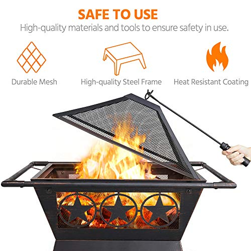 Yaheetech 32in Outdoor Fire Pit Metal Square Firepit Wood Burning Backyard Patio Garden Beaches Camping Picnic Bonfire Stove With Spark Screen Log Poker And Cover Pricepulse
