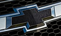 VVIVID Brushed Black Aluminum Texture Auto Emblem Vinyl Wrap Overlay Cut-Your-Own Decal for Chevy Bowtie Grill, Rear Logo DIY Easy to Install
