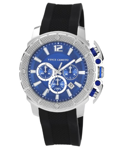 Vince Camuto Men's VC/1019BLSV The Striker Silver-Tone Black Resin Strap Chronograph Watch