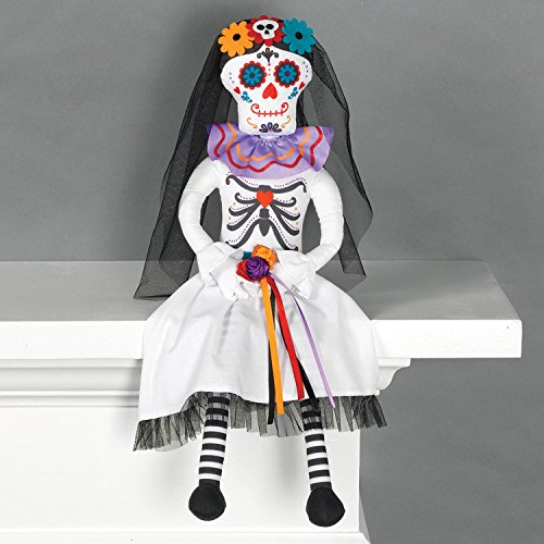 Amscan 242345 Sitting Day of The Dead Bride Doll, Black, 20