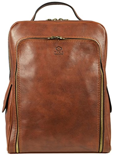 Leather Backpack Rucksack School Bag Unisex Matt Brown - Time (Time Brown Leather)