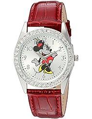Disney Minnie Mouse Womens Silver Alloy Glitz Watch, Red Leather Strap, W002762