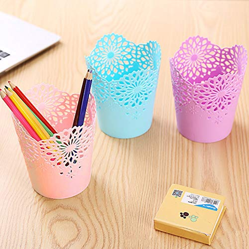 Pen Pencil Holder Cup Set,6 Pcs Different Pencil Cup/Pen Holder/Ruler Organizer/Desk Sorter Free 400 Pcs Sticky Notes by Koogel