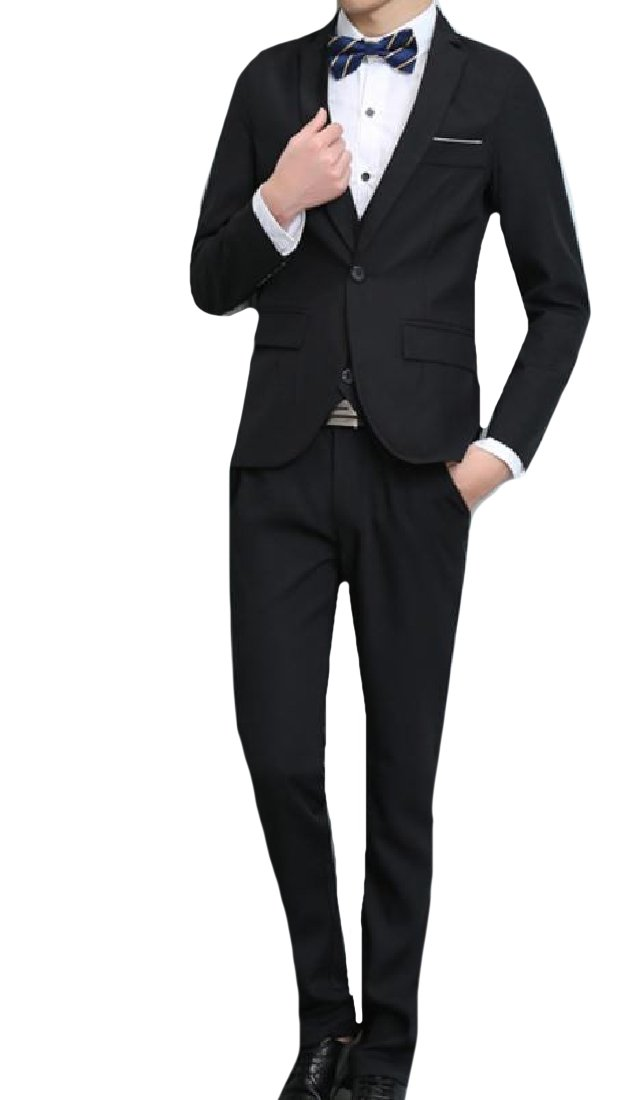 VITryst-Men Regular Fit Wedding Tuxedo Suit Flat Front Pants 3pcs Black 3XL