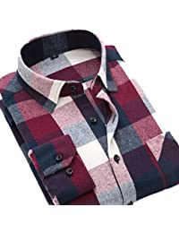Men's Plain Long Sleeve Plaid Flannel Dress Shirt