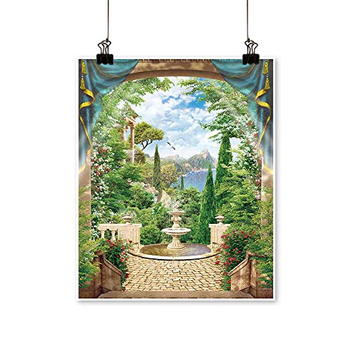 - Single Painting Terrace with Fountain Office Decorations,16