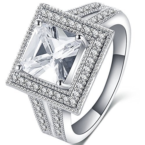 FENDINA Womens Vintage Emerald Cut CZ Crystal Wedding Engagement Rings Square 18K White Gold Plated Best Anniversary Promise Rings for Her