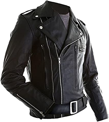 The Leather Factory Men's Real Leather Jacket Arnold Schwarzenegger Terminator 2 2XL Black (Arnold Schwarzenegger Jacket)