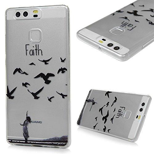 Huawei P9 Case-Lanveni® Hülle TPU Handycase für Huawei P9 Softcase Handycover Schutzhülle Tasche Durchsichtig Transparent Etui Handyschalen-Muster:Vogel