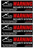 4 Set Awe inspiring Unique Warning GPS Tracking Security System Technology This Vehicle Equipped with Real Time Inside Adhesive Sticker Sign CCTV Under Cameras Protect Reflective Size 4.5''x1.5''