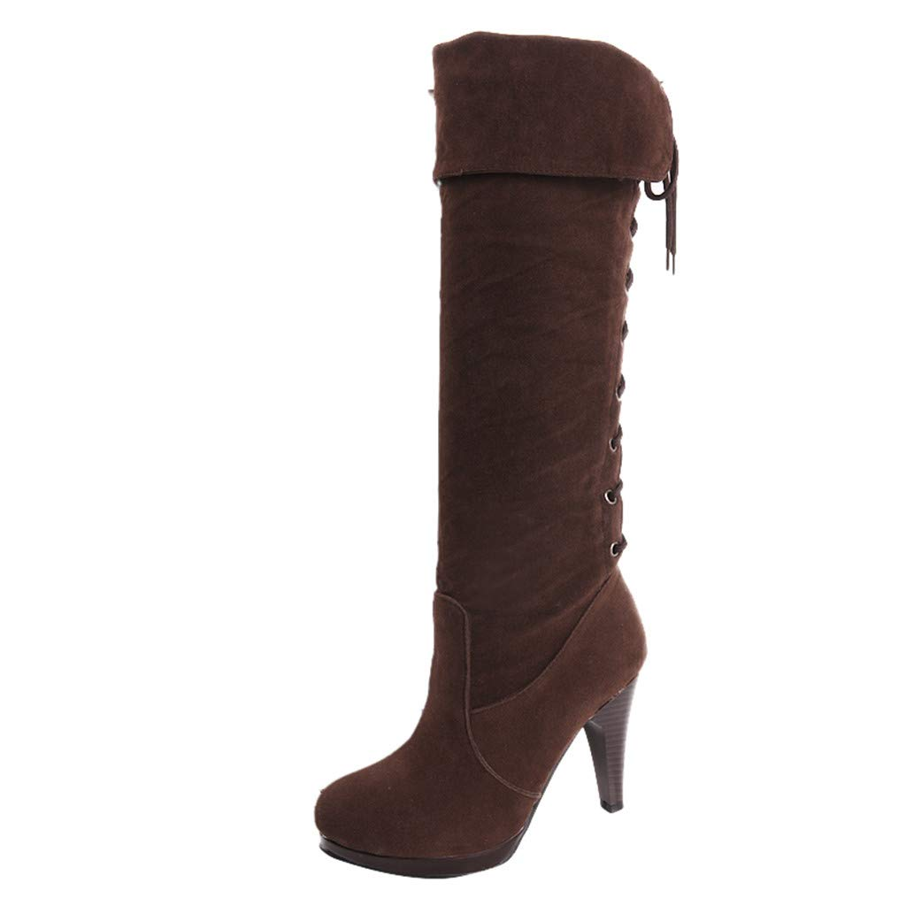 Women's Brown Faux Suede Knee-High Back Laced Fold Over Cuffs High Heel Boot - DeluxeAdultCostumes.com