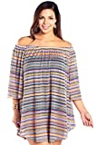 Always For Me Women's Plus Size Bohemian Off The Shoulder Cover up - Ladies' Swimwear Coverup - Rainbow - Bohemian Nights Multicoloured, 1X