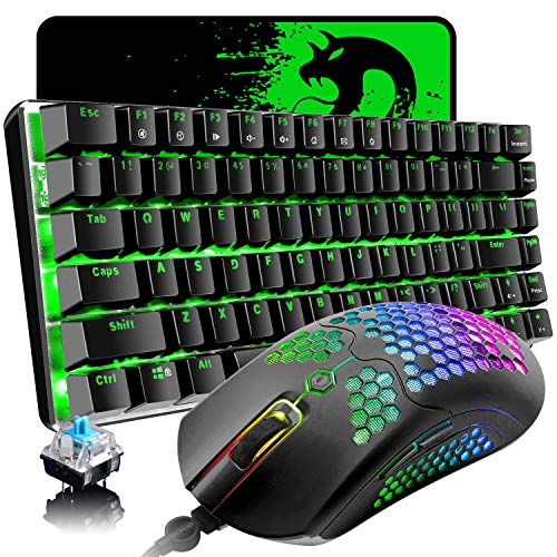 Gaming Keyboard and Mouse,3 in 1 Gaming Set,Blue LED Backlit Wired Gaming Keyboard,RGB Backlit 12000 DPI Lightweight Gaming Mouse with Honeycomb Shell,Large Mouse Pad for PC Game