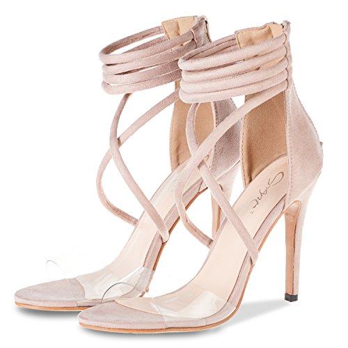 JSUN7 Women's Lucite Clear Open Toe Cross Straps Sandals Office Dress Shoes Back Zipper Strappy Heels Beige