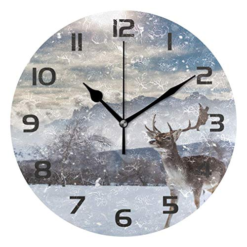 Dozili Forest Animal Deer Elk Reindeer Decorative Wooden Round Wall Clock Arabic Numerals Design Non Ticking Wall Clock Large for Bedrooms, Living Room, ()