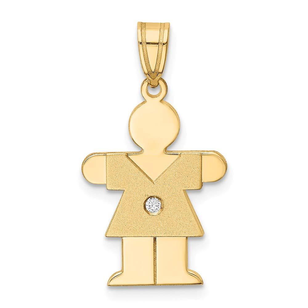 Solid 14k Yellow Gold Diamond Children Boy Girl Baby Kids Body Pendant .02 cttw. 25mm x 13mm