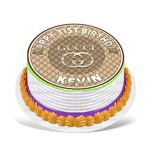 """Price comparison product image Gucci Edible Cake Topper Personalized Birthday 8"""" Round Circle Decoration Party Birthday Sugar Frosting Transfer Fondant Image Edible Image for Cake"""