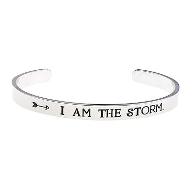 Amazon.com: LParkin I AM The Storm - Pulsera inspiradora ...