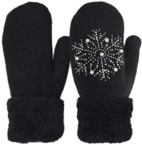 KMystic Wool Blend Plush Lined Cuffed Winter Knit Mittens (Snowflake Black) ()
