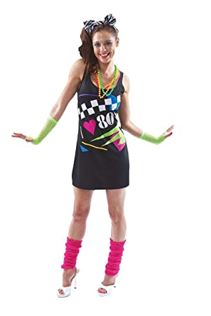 31be0d357cf Amazon.com  Orion Costumes Womens I Love the 80s Dress 1980s Hen Festival  Fancy Dress Costume  Clothing