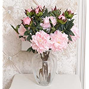 Artificial Flower 2 Heads Bounquet Artificial Peony for Home Decor Without Vase & Basket, 1 Flower, Pink 57