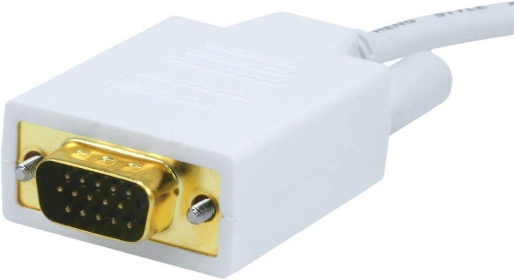 White Monoprice 106005 15-Feet 32AWG Mini Display Port to VGA Cable