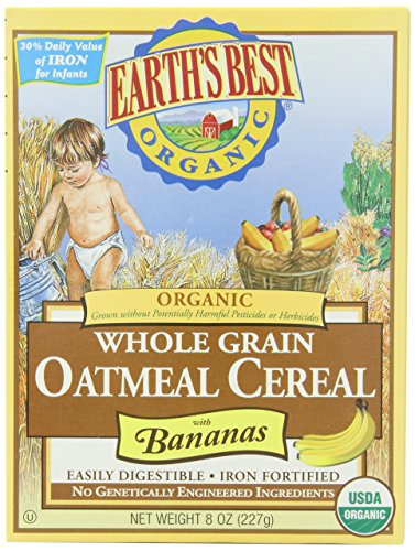Earth's Best Organic Whole Grain Oatmeal Cereal with Bananas, 8 Ounce Box