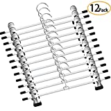 GoodtoU Pants Skirt Hangers - 12 Pack Metal Pants Hangers Chrome Skirt Hangers with Non-slip Adjustable Clips Space Saving Pants Hanger for All Kinds of Clothes Pants