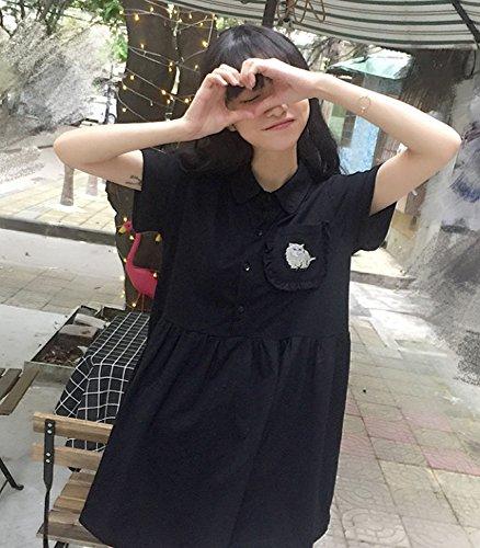Nero Collare Donne Gatto Sveglia Del Crb Camicia Moda Vestito wAPZpxYqPE