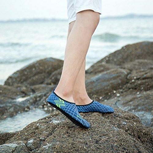 KEESKY Männer Frauen Barfuß Wasser Schuhe Quick Dry Slip Auf Aqua Socken Für Beach Pool Aerobic 01.grün / blau